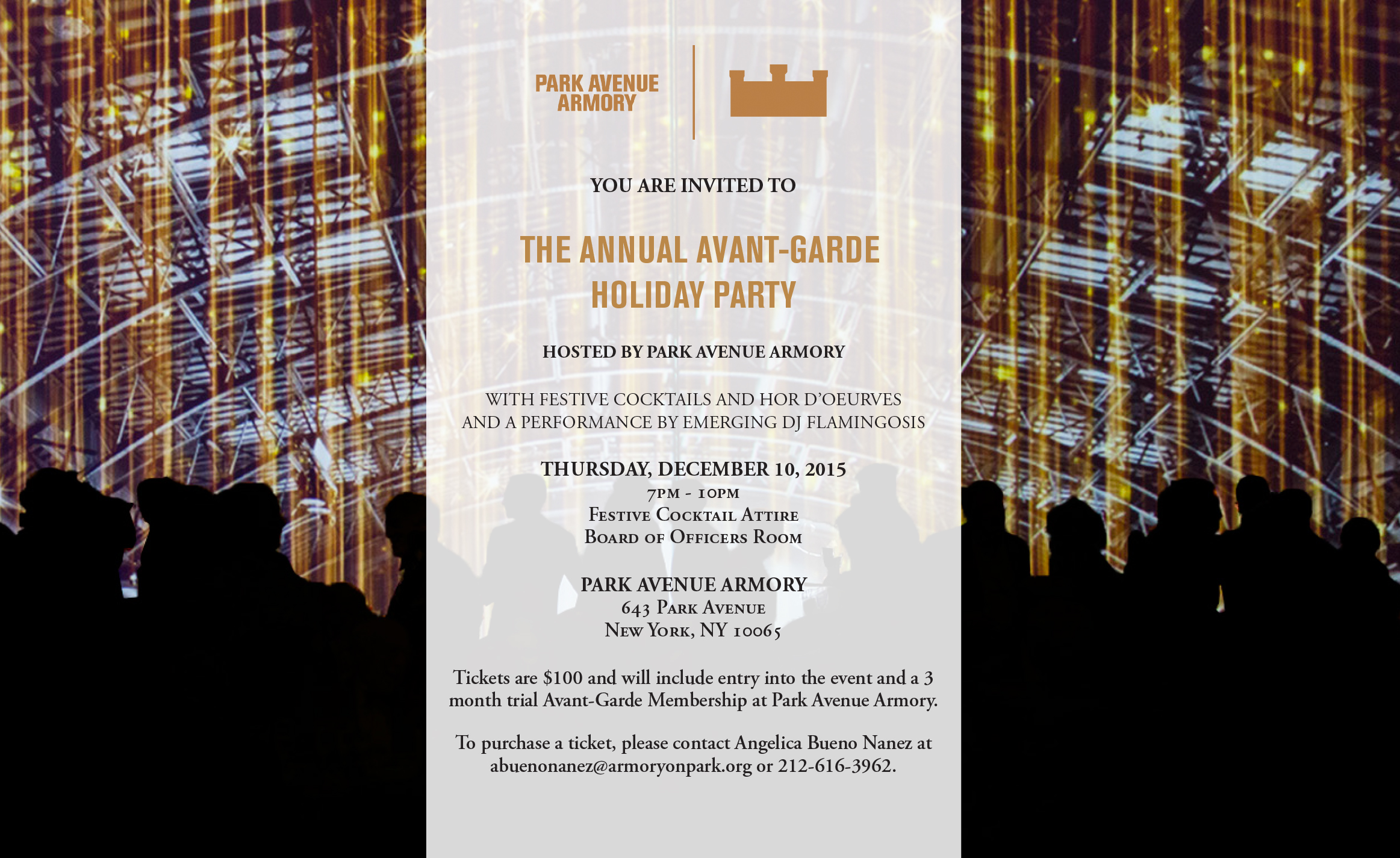 We Are Delighted To Invite You Celebrate The Season With Park Avenue Armory At Our Annual Young Patrons Holiday Party On Thursday December 10th